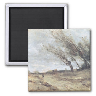 The Gust of Wind, c.1865-70 2 Inch Square Magnet