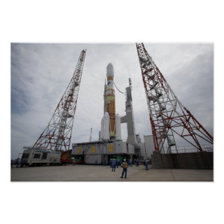 The H-IIB rocket on the launch pad Poster