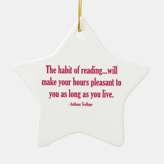 The Habit of Reading Will Make Your Hours Pleasant Double-Sided Star Ceramic Christmas Ornament
