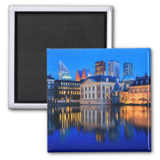 The Hague skyline at blue hour photo magnet