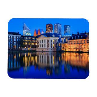 The Hague skyline at blue hour rectangular magnet