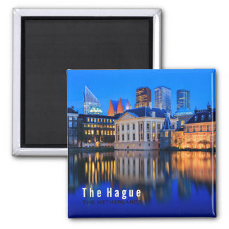 The Hague skyline at blue hour text magnet