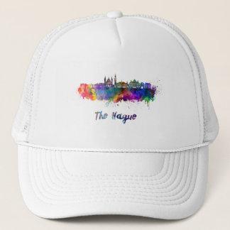 The Hague V2 skyline in watercolor Trucker Hat