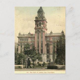 The Hall of Justice, San Francisco CA 1908 vintage postcard