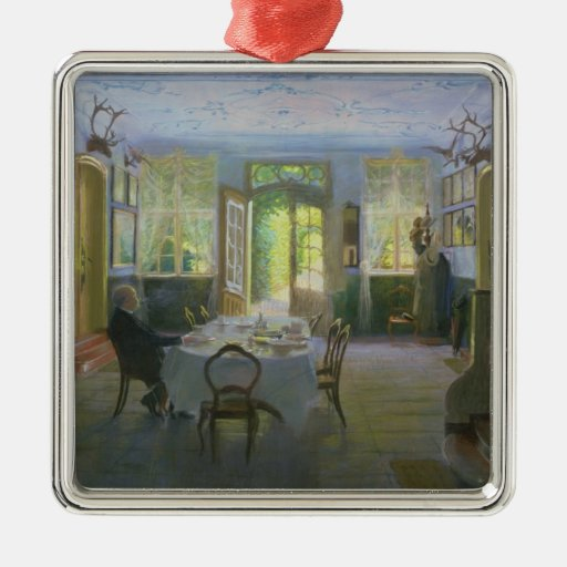 The Hall of the Manor House in Waltershof, 1894 Square Metal Christmas Ornament