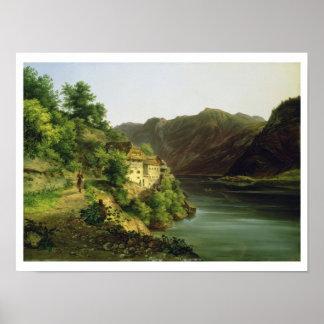 The Hallstatter Lake, 1824 (oil on canvas) Print