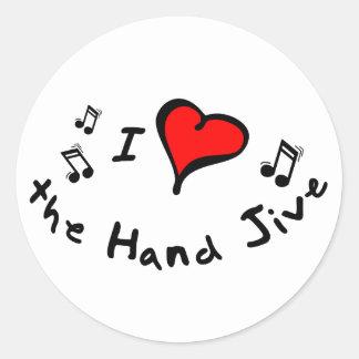the Hand Jive I Heart-Love Gift Classic Round Sticker