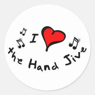 the Hand Jive I Heart-Love Gift Round Stickers