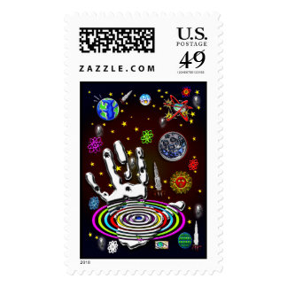 The Hand of Humanity in Space Postage Stamp