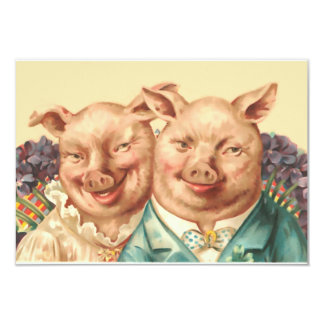 The Handsome Pig Couple 3.5x5 Paper Invitation Card
