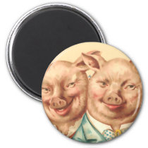 The Handsome Pig Couple Magnet