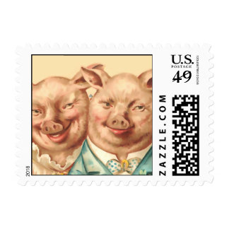 The Handsome Pig Couple Postage