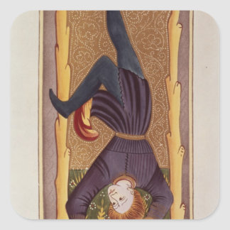 The Hanged Man, tarot card, French Square Sticker