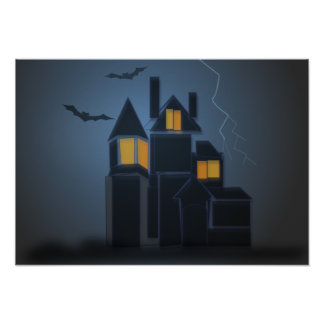The hanuted house halloween poster
