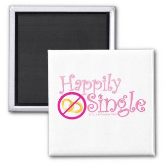 The Happily Single Collection by MDillon Designs 2 Inch Square Magnet