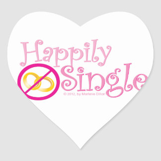 The Happily Single Collection by MDillon Designs Heart Sticker