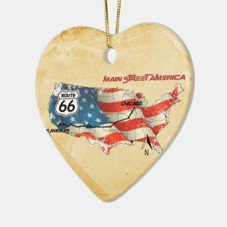 The happy America higway Ceramic Ornament