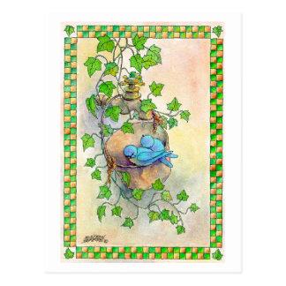 THE HAPPY BLUEBIRDS by SHARON SHARPE Postcard