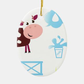 THE HAPPY CUTIE COW ICONS CERAMIC ORNAMENT