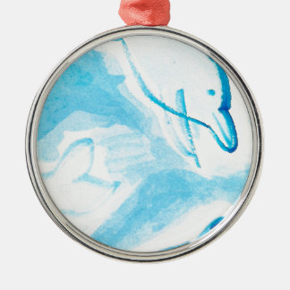 The Happy Dolphins blue fun drawing by FabSpark Metal Ornament
