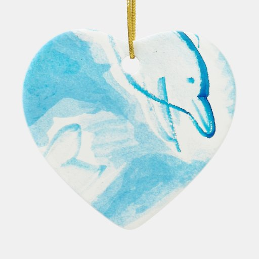 The Happy Dolphins blue fun drawing by FabSpark Christmas Tree Ornaments