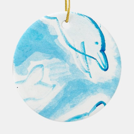 The Happy Dolphins blue fun drawing by FabSpark Ornament