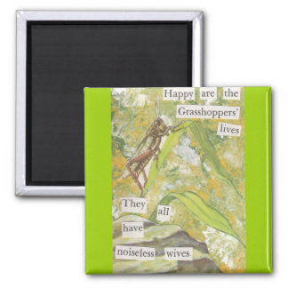 The Happy Grasshoppers 2 Inch Square Magnet