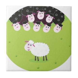 The happy little cute Sheeps Ceramic Tile