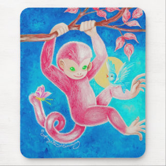 The Happy Little Monkey Mouse Pad