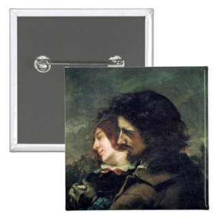 The Happy Lovers, 1844 2 Inch Square Button