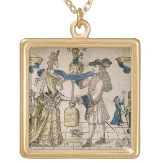The Happy Marriage (stencil coloured woodcut) Gold Plated Necklace