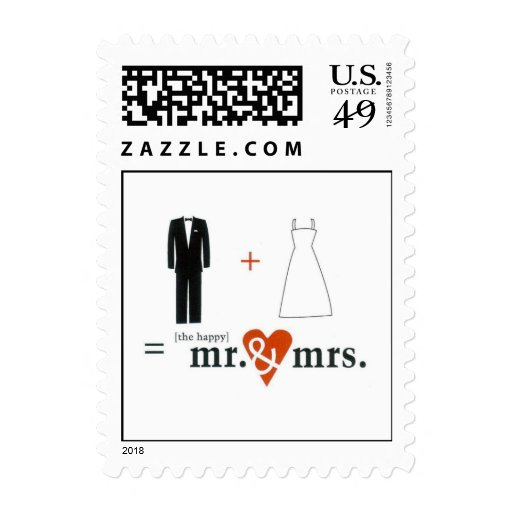 The Happy Mr. & Mrs. - Customized Postage Stamp