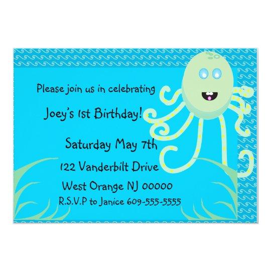 The Happy Octopus Birthday Invitation
