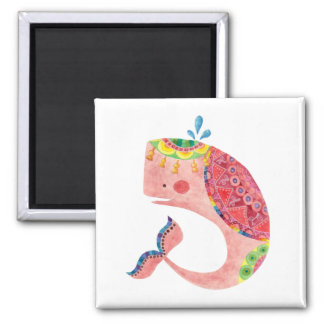 The Happy Pink Whale 2 Inch Square Magnet