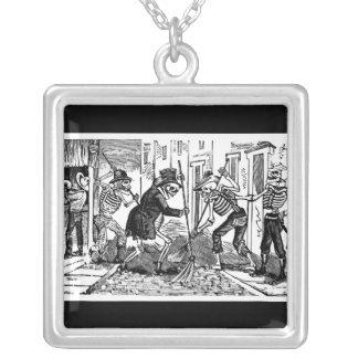 """The Happy Street Cleaner Calaveras"" Square Pendant Necklace"