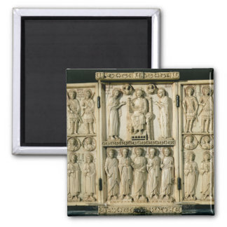 The Harbaville Triptych depicting Christ Enthroned 2 Inch Square Magnet