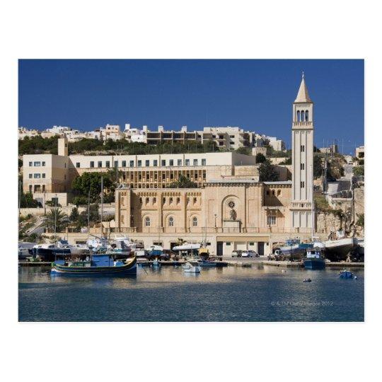 The harbor and church at Marsaskala on the Postcard