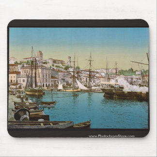 The harbor, Cannes, Riviera vintage Photochrom Mouse Pad