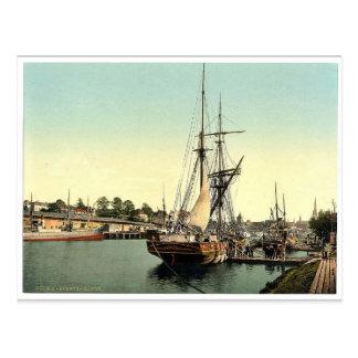 The harbor, Lubeck, Germany classic Photochrom Postcard