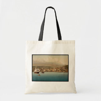 The harbor, San Remo, Riviera vintage Photochrom Canvas Bags