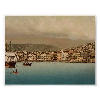 The harbor, San Remo, Riviera vintage Photochrom Poster