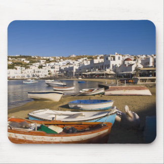 The harbor town with colorful fishing boats mouse pad