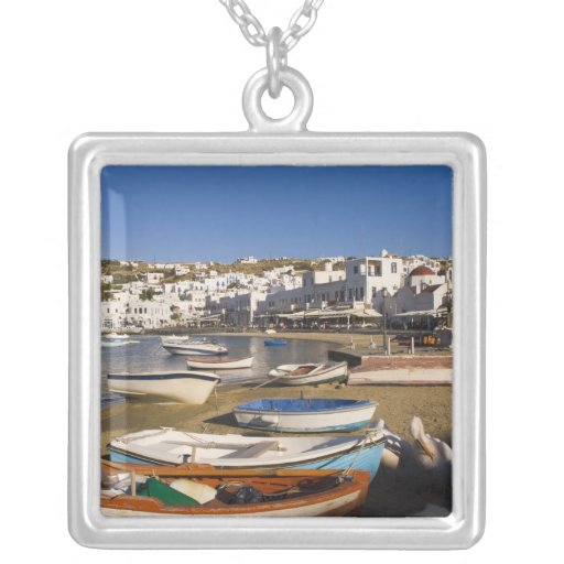 The harbor town with colorful fishing boats necklace