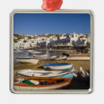 The harbor town with colorful fishing boats christmas tree ornament