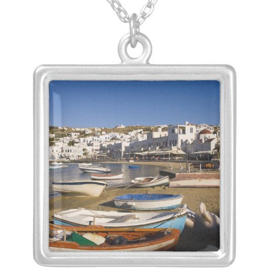 The harbor town with colorful fishing boats silver plated necklace