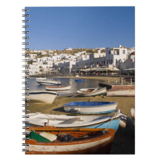 The harbor town with colorful fishing boats spiral notebook