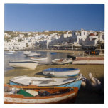 The harbor town with colorful fishing boats ceramic tile