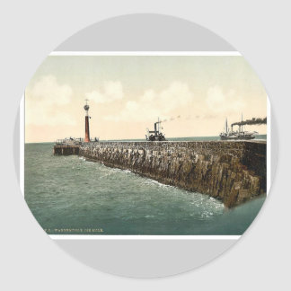 The harbor, Warnemunde, Rostock, Mecklenburg-Schwe Classic Round Sticker
