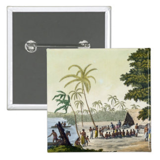 The Harbour at Anamooka, plate 82 from 'Le Costume 2 Inch Square Button