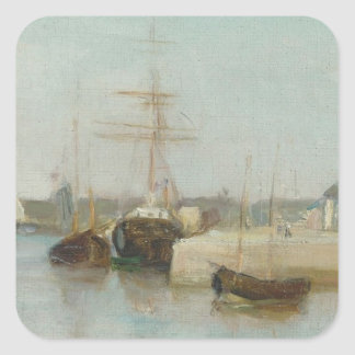 The Harbour at Lorient, 1869 (oil on canvas) Square Sticker